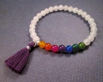 Tassel Bracelet, Jade Gemstone Beaded Bracelet, Rainbow Stretch Bracelet, Silver Stacking Bracelet, FREE Shipping U.S.