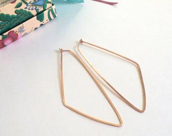 "Long Rose Gold Triangle Hoops 3"" Triangle Earrings Geometric Statement Earrings Hammered Wire Jewelry Tribal Earring 3"" Gold Hoops"