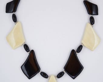 Rare Exotic Hollywood and Ebony Wood Necklace