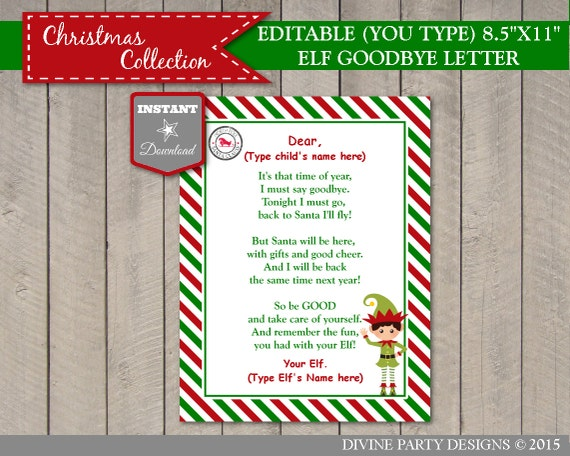 INSTANT DOWNLOAD Printable Editable Elf Goodbye Letter Add