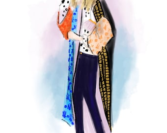 Street Style no. 06  Art Print Fashion Illustration, Fashion Sketch, Fashion Art, Watercolour Illustration