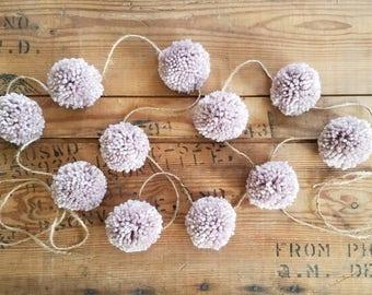 Rustic Pom Pom Garland. Party garland, handmade garland, yarn pom pom, rustic wedding decor, farmhouse pom pom, wedding garland, pom poms