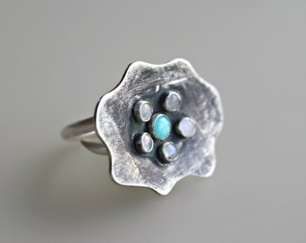 Amazonite and Moonstone Ring - Black Flower Silver Ring - Statement Ring - Gift For Women - Mom Ring - Mothers Gift - Blue Gemstone Ring