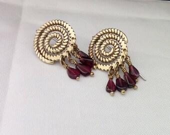 Spiral gold and red garnet earrings,ethnic earrings,Bohemian nature jewelry,Brass&sterling silver,Garnet dangling .