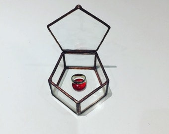 Stained Glass Ring Box, Water Glass, Wedding Ring Box,stained Glass Jewelry Box,engagment Ring Box,Geometric Jewelry Box, pentagon Ring Box