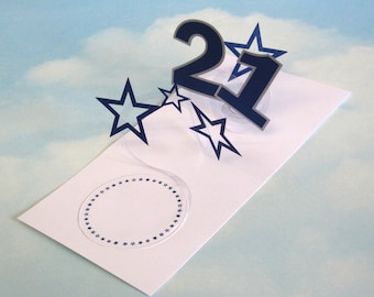 21st Birthday Card Spiral Pop Up 3D - Blue Stars – 21st Birthday Spiral Pop Up Card - PopUp Card