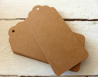 20 Kraft Paper Trailers labels tags large brown