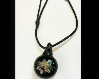 Glass pendant necklace black with fine silver and copper inclusions handmade jewelery