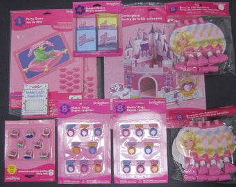 Princess Birthday Favors Pink Girl Castle Centerpiece Rings Mirrors Blowouts Candles Toys Kiss Me Activity Game Celebration Set Age 3 and up