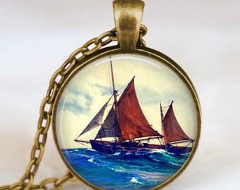 Sailboat jewelry , Sailboat jewelry, Sailboat necklace , Nautical marine ocean jewelry gift idea