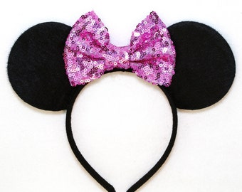 Minnie Mouse Ears Orchid Sequin Bow - Mickey Mouse Ears Disney Ears Sequin Minnie Mouse Bow Minnie Mouse Headband Mickey Ears Minnie Ears