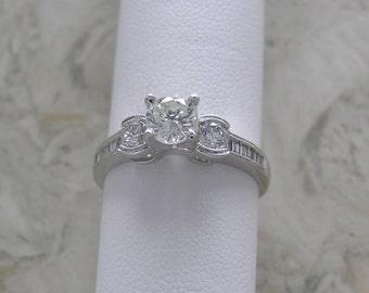 Vintage Diamond Engagement Ring 18K White Gold Circa 1970