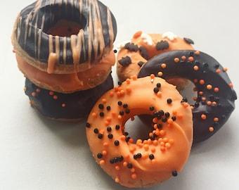 Halloween Mini Doggy Donuts - Dog Treats with Yogurt Icing - Carob Icing - Gourmet All Natural Treats - 12 mini donuts