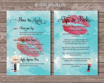 Lipsense Aplication Card, Instant Download printable Tips & Tricks cards, Senegence Distributor Cards, How to Apply Cards Pink Watercolor