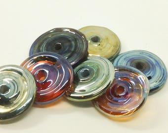 Set of 7 lampwork silver glass discs
