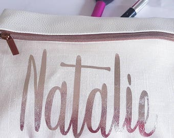Pack of 6 wedding makeup bags personalised with each person's name on the front and a message inside saying thank you for being my