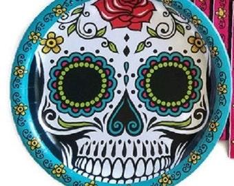 Day of the Dead ''Dia De Los Muertos'' Sugar Skull Lunch Paper Plates 16ct