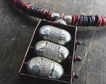 Tribal amulet necklace | African silver beads, boho necklace, copper jewelry, rustic copper necklace, metalwork necklace