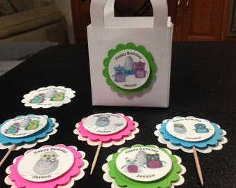 Hatchimals birthday party cupcake toppers treat bags stickers personalized