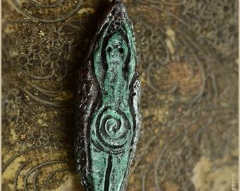 Spiral goddess pendant - handsculpted in modelling clay - OOAK - Handmade jewelry sculpt