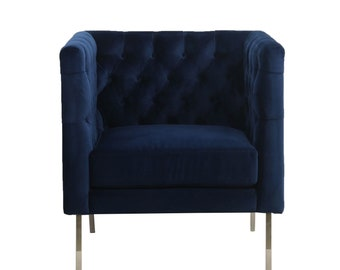 Blue Chesterfield Brushed velvet armchair. Accent chair. Designer Bespoke. Free UK delivery.