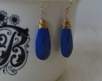 Gold Wrapped Lapis Lazuli Drops