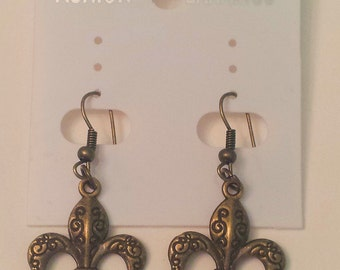 Antique Bronze Fleur De Lys Earrings
