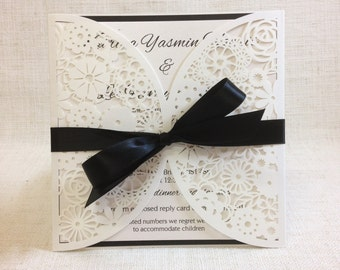 Black and White Paper Lace Wedding Invitation - Laser Cut invitation SAMPLE