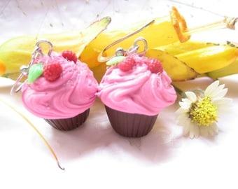 Raspberry Pink Chocolate Cupcake Earrings food jewelry, food earrings, foodie gift, dangle earrings miniature food jewelry polymer clay