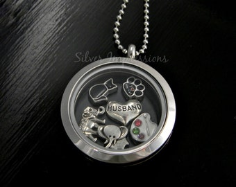 Pick 6 Charms of your choice  /  Floating Locket  /  Memory Locket  / Hand Stamped Jewelry
