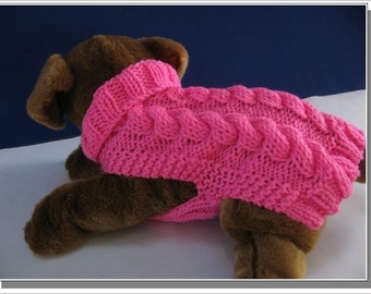 Cabled Dog Sweater Knitting pattern PDF Easy to Knit Celtic Doggie Smart Cables
