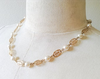Vintage Marked Napier Necklace, Faux Pearls and Filigree Link Chain, Pretty and Feminine Jewelry