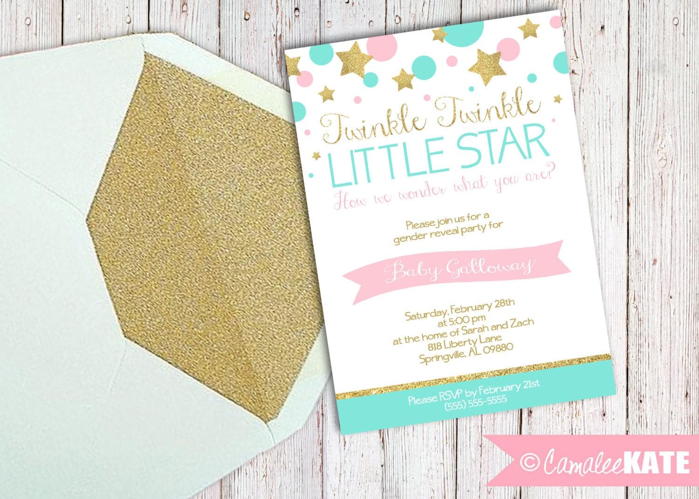 Twinkle Twinkle Little Star Gender Reveal Party Invitation