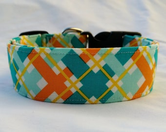 Personalized- Embroidered-Teal Orange Yellow-Cross Check Choose Buckle or Martingale Dog Collar-Large Breed Dog-1 inch 1.5-2 inch width