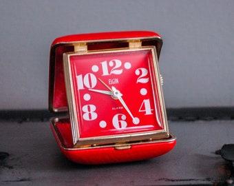Vintage 1970s Red Elgin Travel Alarm Clock