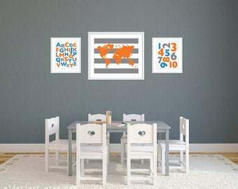 Playroom World Map Abc 123 Art Prints - Blue Orange Grey - Alphabet and Numbers Art Prints - Playroom Wall Art