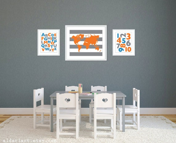 Playroom world map abc 123 art prints blue orange grey gumiabroncs Choice Image