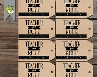 You rule gift tag, Teacher gift tags, printable gift tag, Teacher gift, end of year tag, teacher gift, Teacher gift tag, Gift Tag, Thank you