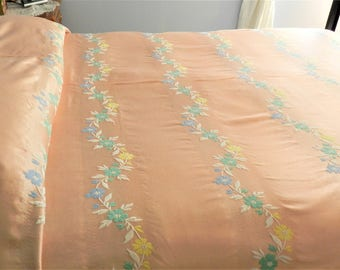 Peach Woven Bedspread, Hollywood Glam, Satin Bedspread, Vamp Bedspread, 1930-40s Bedspread,