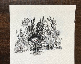 SMALL HERBAL WITCH ~ Original Inking