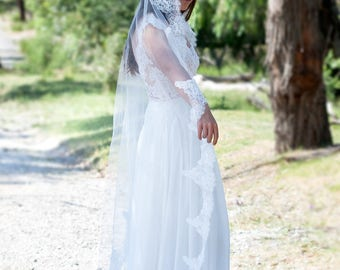 MARY-ANNE Mantilla Veil, wedding veil, bridal veil, tulle veil, veil, mantilla, traditional veil