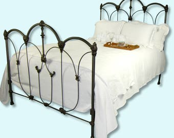 Antique Cast Iron Full Bed, cast iron bed, double bed, antique wrought iron bed, ornate antique bed, antique metal bed, antique steel bed