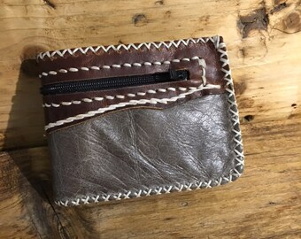 Leather wallet hand stitched - Jungle Leather brown and grey