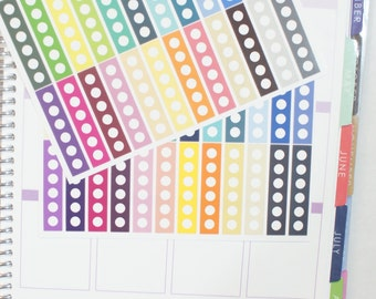 48 Circle Checklist Planner Stickers 1 Colorful Skinny Vertical Layout (S191) High Gloss, Semi-Gloss, Matte Stickers