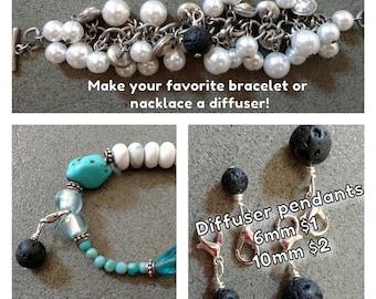 Oil Diffuser Bead // Aromatherapy // Essential Oil Bracelet // Lava Stone Bracelet // Aromatherapy Jewelry // Essential Oil Zipper Pull