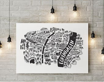 COPENHAGEN print, illustrated Map. City Original illustration. City Guide. Map print. My fave places in København. Maps. Black and white map