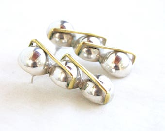 Modernist Mexican Earrings Sterling Silver and Brass Balls Vintage Mixed Metal Orb Ball Drops Taxco Mexico Statement Jewelry