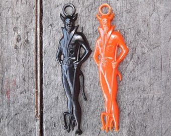 2 Vintage Hard Plastic Halloween Devil Charms - 1 Black, 1 Orange - Diablo - Lucifer - Beelzebub     (DR-016)