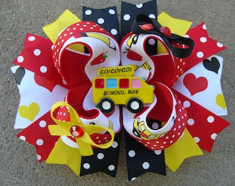 Go back to School Stacked Boutique Hair Bow School bus resin I love school hair Clip Boutique hair bow school hair bow