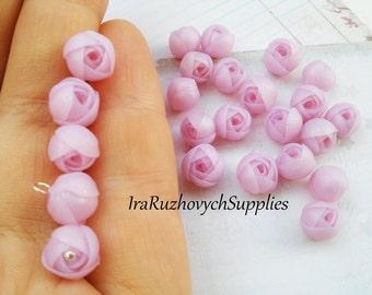 10 pcs.  transparent pink ranunculus polymer clay flowers, polymer clay flower bead, with transparent effect